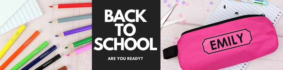 personalised back to school pencils pencil cases book bags backpacks gifts